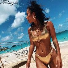 Fulaigesi металлик Светоотражающие бикини море Купальник 2019 Для женщин золотые пикантные Твердые Холтер спинки спортивный купальник с v-образным вырезом набор Монокини