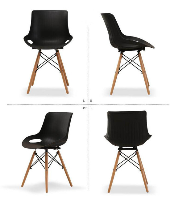 2 Pieces of Set Nordic Furniture Plastic Chairs Coffee Leisure Creative Chair Armchair Dining Modern  Loft Wood Restaurant Chair