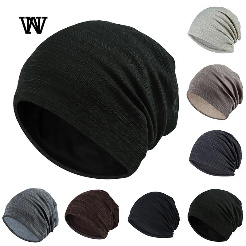 7 Color Striped Skullies Beanies For Men Women Hat 2019 Spring & Autumn Breathable Turban Hat Cotton Pile Cap Skullcap TTM-CZX7