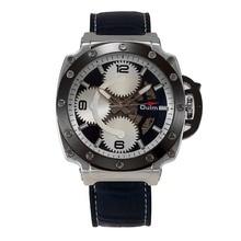 Oulm марка Механические Часы Черного Золота спортивная мода часы Мужчины часы Большой Циферблат Кожаный Ремешок
