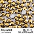 SS3-SS30 Mina de Oro Del Arte Del Clavo Con Redondo Flatback Para Uñas de Arte Del Teléfono Celular Y Decoraciones de La Boda