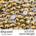 SS3-SS30 Mine Gold Nail Art Rhinestones With Round Flatback For Nails Art Cell Phone And Wedding Decorations