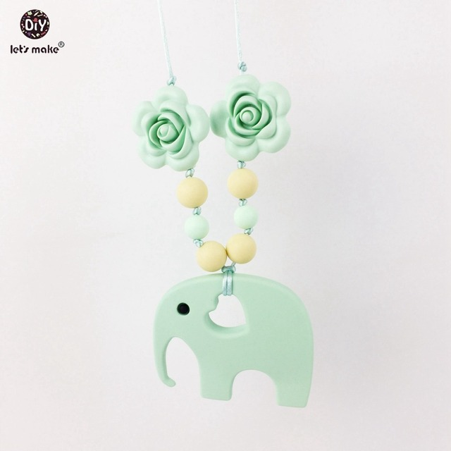 Silicone Necklace Food Grade Silicone Beads Rose Flower Elephant Pendant Chewable Accessories Toy Baby Shower Gift Baby Teether
