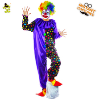 Deluxe Plus Gala Clown Halloween Costume Adult Funny Circus Clown Costumes Magic Show Clown Suit For