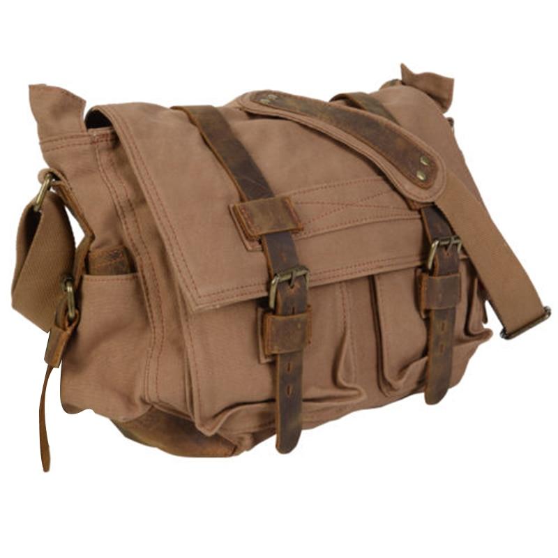 Fashion Hot Men's Vintage Canvas Leather Satchel Shoulder Bag Messenger Bag Black  L casual canvas satchel men sling bag