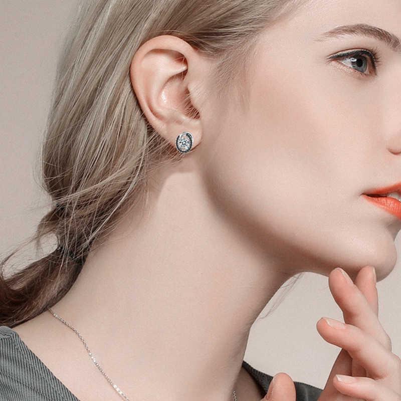 [SCHWARZ GRANNE] Reine 925 Sterling Silber Schmuck Natürliche Boucle D'oreille Stud Ohrringe für Frauen Edlen Schmuck T176