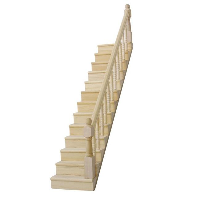 Pre Assembled Wooden Staircase Stair Stringer Step With Right Handrail  Dollhouse Furniture Play House Toy