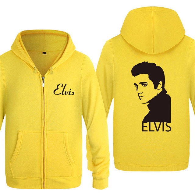 Zipper Hoodies Men Elvis Presley Printed Mens Hoodie Music Hip Hop Fleece Jacket Coat Men Women Winter Sweatshirt Fans Clothing