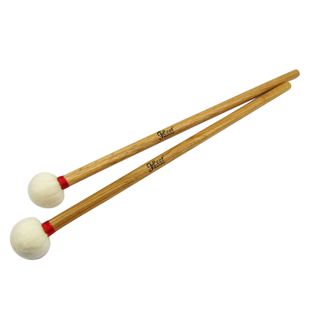 1 Pair Soft Head Wood Core Precussion Mallets Drumsticks Timpani Mallets Oak Handle Perfect Weight And Balance