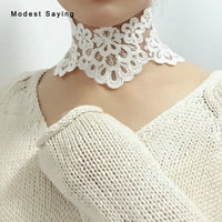 Real Romantic High Quality Lace Wedding Necklaces 2018 Fashion Cute Wide Handmade Ivory Chokers Women kolye Wedding Accessories