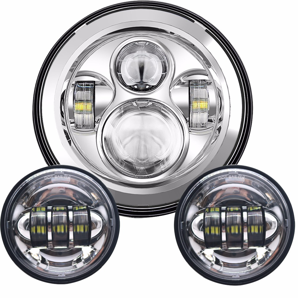 """for harley Road King Classic FLHRC 7"""" Round Hi-Lo Beam LED Projector Daymaker Headlight bulb&4.5inch Passing Lights fog lamps"""