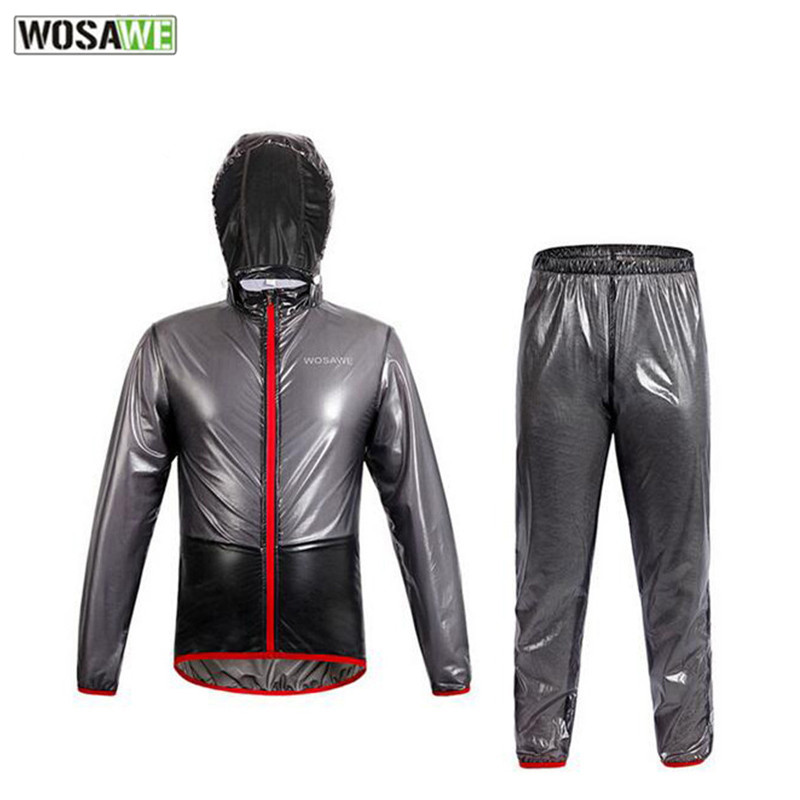 WOSAWE Cycling Raincoat Hooded Windproof Waterproof Sports Poncho Clothing Jacket MTB Bike Cycling Bicycle Raincoat Jersey