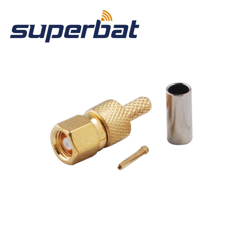 Superbat SMC Crimp Male Plug RF Coaxial Connector For LMR100 Cable (10PCS)