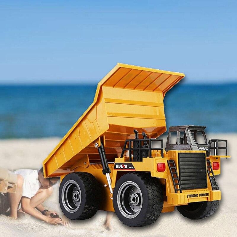 HUINA 1540 6CH 1/18 2.4G 40HMZ Metal RC Dump Trucks Remote Control Toys