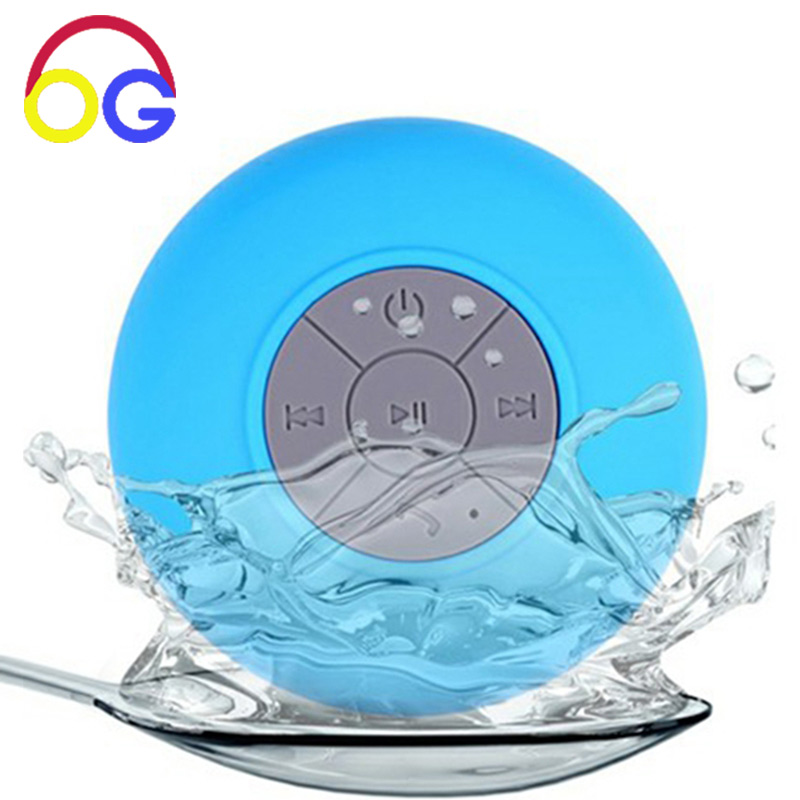 JI-06 Vattentät dusch Bluetooth-högtalare mp3-spelare trådlös Handsfree Bärbar högtalare för telefon Suction Mic Subwoofer