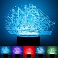 ขายส่งของขวัญที่สร้างสรรค์LED 3Dไฟในคืนโคมไฟ3D Decoวิสัยทัศน์โต๊ะLed USB 7สี