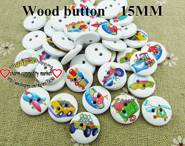 100pcs Vehicle Button Garment Painting Wooden Car Buttons Decoration 15mm Sewing Clothes Boots Coat Accessory Mcb-971