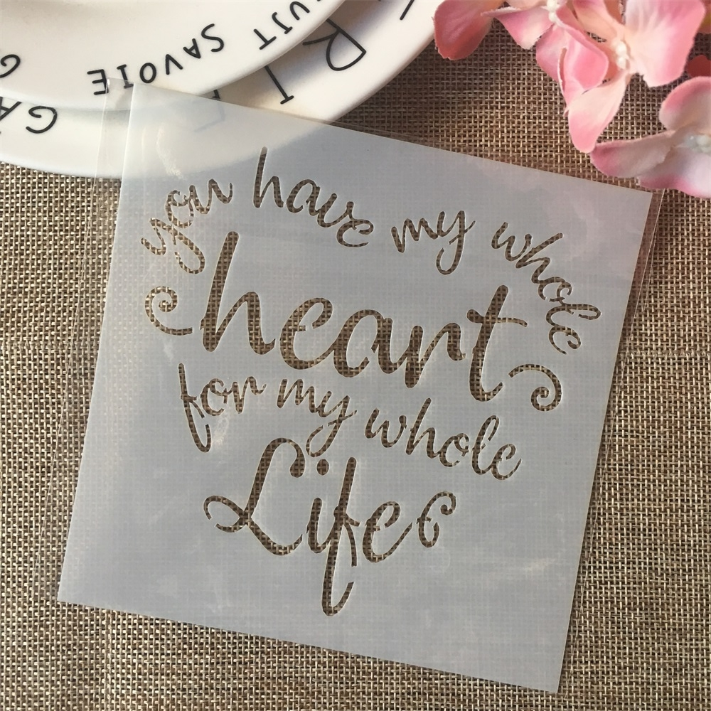 13cm Heart Words Life DIY Layering Stencils Painting Scrapbook Coloring Embossing Album Decorative Card Template
