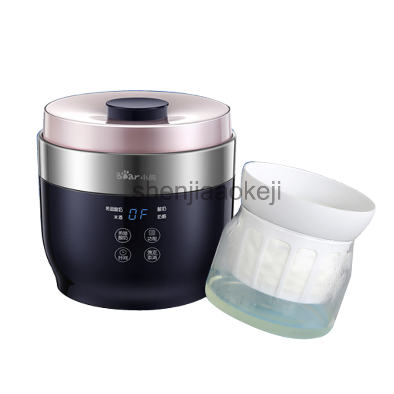 1L SNJ-C10T1 Fully Automatic Yogurt Maker 4 Ceramic Yogurt Cup Rice Wine Cheese Greece Yogurt Machine 220V 20W 1pc purple yogurt makers rice wine natto machine household fully automatic yogurt glass sub cup liner multifunctional kitchen helper