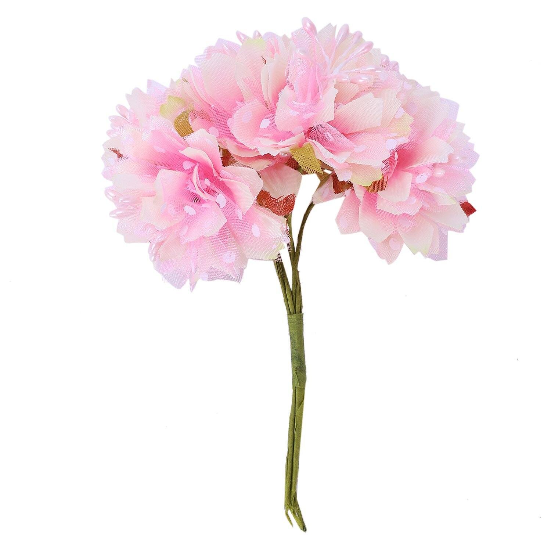 6pcs 4cm Artificial Carnation Flowers Stamen Silk Flower Bouquet For