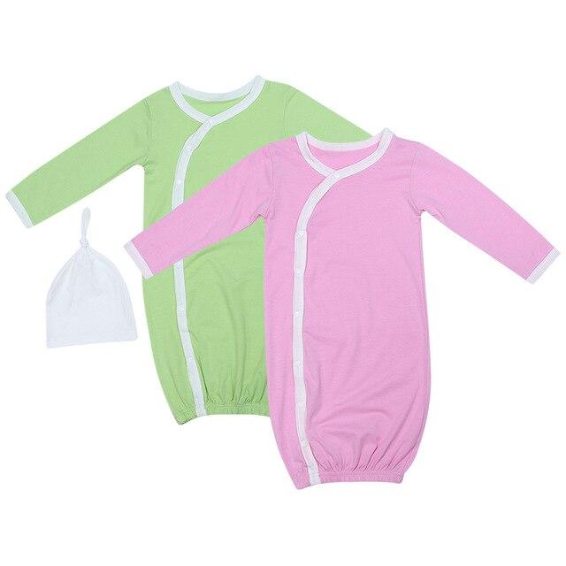 Newborn Baby Sleep Gowns Pink/Lime Green Long Sleeve Toddler Sleeper ...