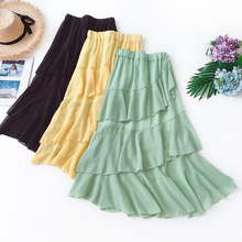 Wasteheart Summer Black Yellow Women Skirts High Waist Pleated Mid-Calf Long Skirt Asymmetrical Chiffon Clothing Plus Size Beach plus size pleated side slit asymmetrical skirt
