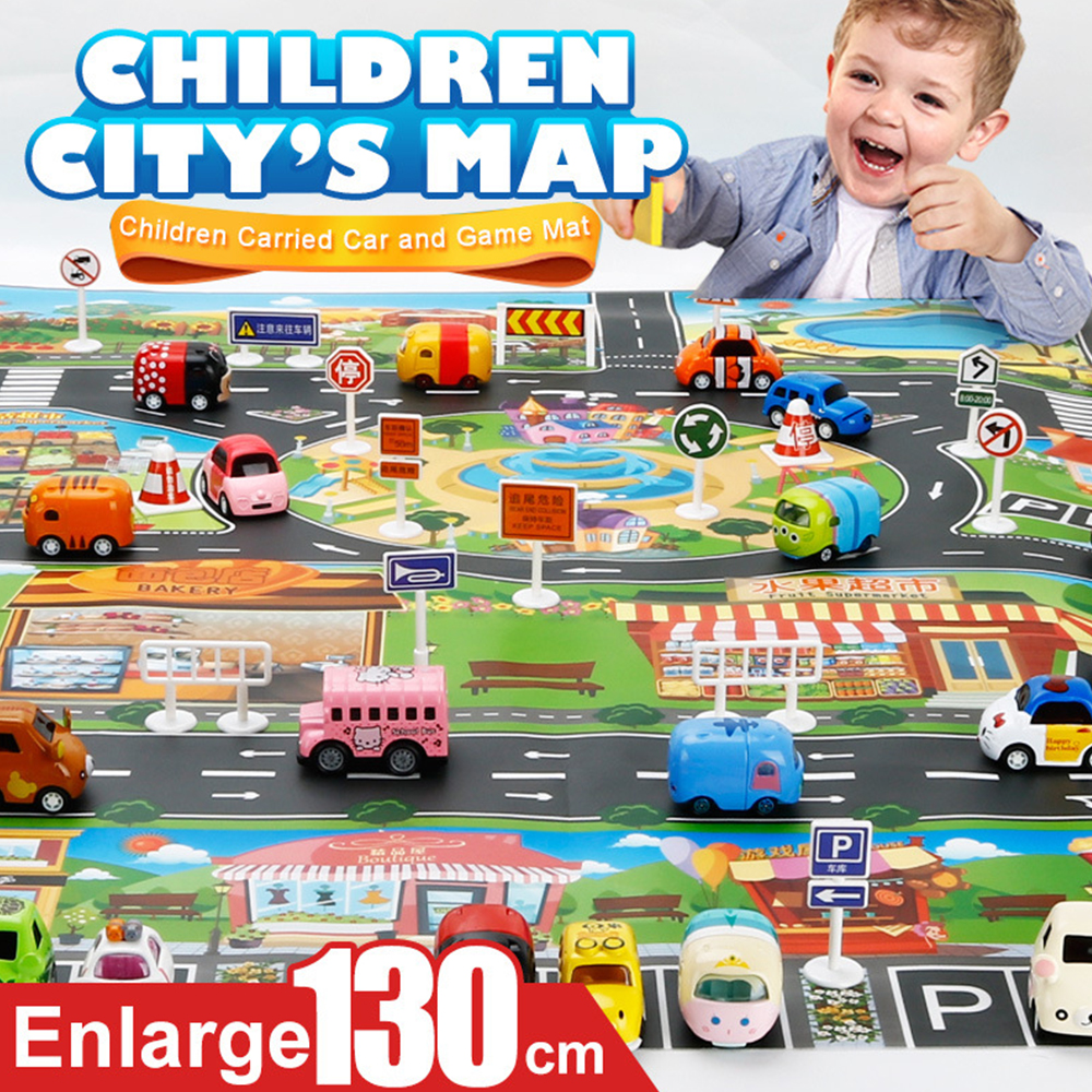 Enlarge Car Toy Waterproof Playmat Simulation Toys City Road Map Parking Lot Playing Mat Portable Floor Games 130*100CM