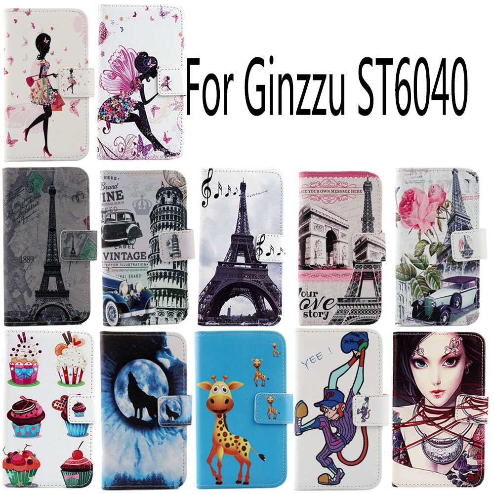 AiLiShi Hot Sale PU Cartoon Leather Case For Ginzzu <font><b>ST6040</b></font> Colorful Painted Cover Skin Book-Design Flip High Quality image