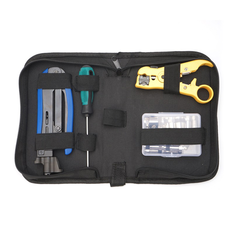 Coax Cable Crimper Kit Compression Tool Wire Cutter Adjustable RG6 RG59 RG11 Wire Stripper with 20pcs F Compression Connectors