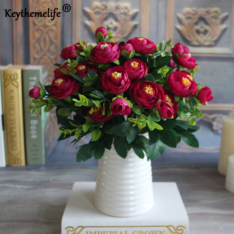 Keythemelife Artificial Fake Peony Flower Vivid 6 sucursales Autumn Home Room nupcial Hortensia Decoración Real Touch larga vida color F