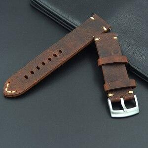 Image 4 - Retro Lederen 18 19 20 21 22mm mannen uitstekende Horloge Band Strap Voor Seiko Mido voor Omega fossiele Riem Armband horlogebanden