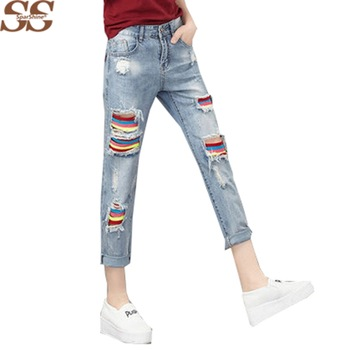 Jeans Femme High Quality Mid Waist  European And American Style Loose Cross-pants 2017  Summer Trend