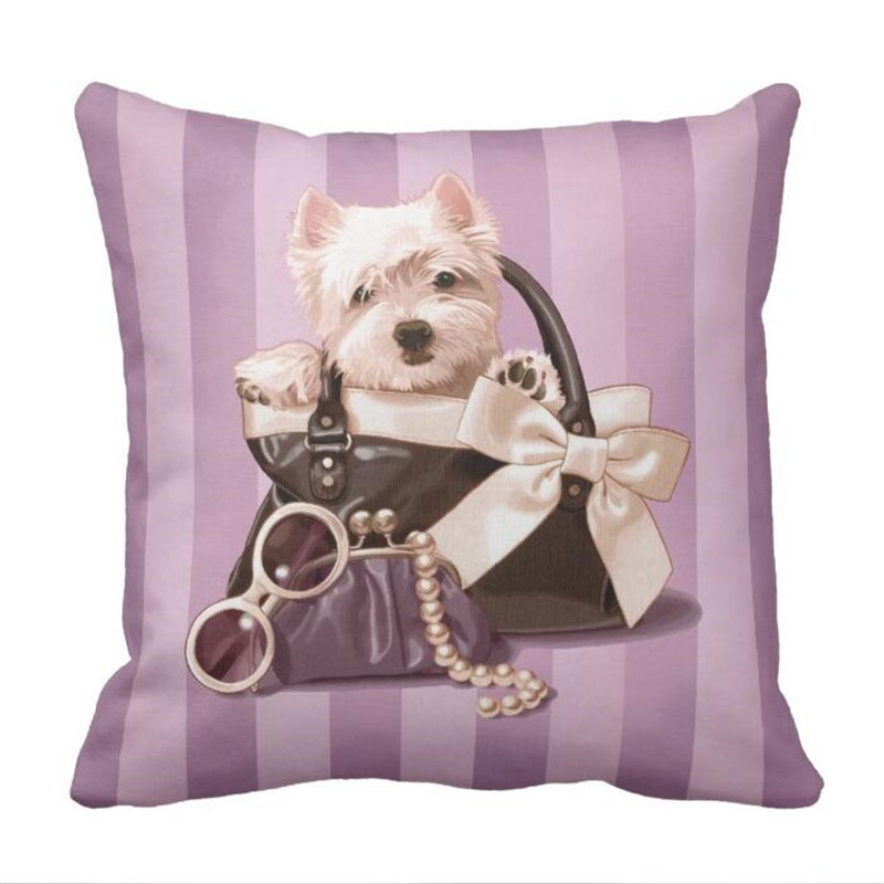 Westie puppy in Handbag Throw Pillow case