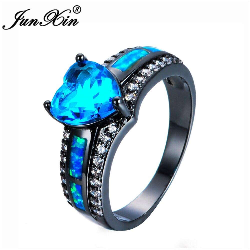 JUNXIN Brand Lake Blue Heart Zircon Blue Fire Opal Heart