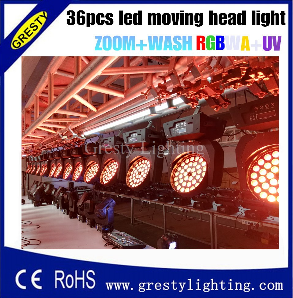 36*18W Beam Moving Head Light RGBWY UV 6in1 Zoom Led Wash Moving Head Light For Dj Stage