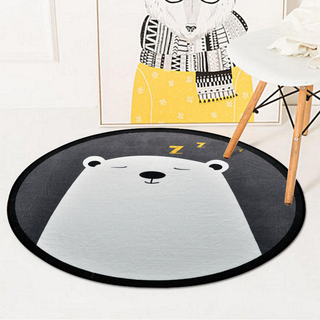 Cartoon Cute Sleeping Bear Kids Baby Room Round Carpet Rugs Crawling