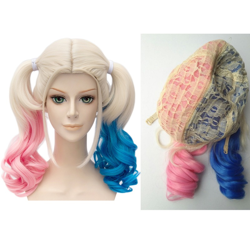 Anime Suicide Squad Batman Joker Harleen Quinzel Wig Harley Quinn Heat Resistant Synthetic Hair Cosplay Wigs + Wig Cap