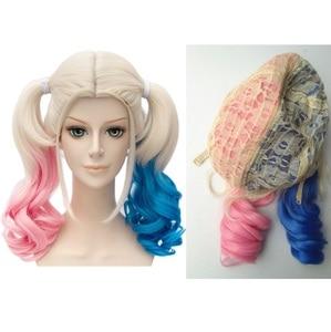 Image 1 - Anime Suicide Squad Batman Joker Harleen Quinzel Wig Harley Quinn Heat Resistant Synthetic Hair Cosplay Wigs + Wig Cap