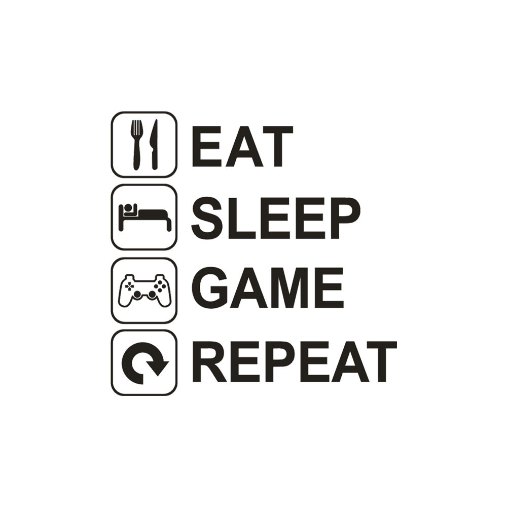 ISHOWTIENDA Eat Sleep Game Repeat Removable Art Vinyl Mural Home Room Decor Wall Stickers 2018 wall stickers for kids rooms 0328
