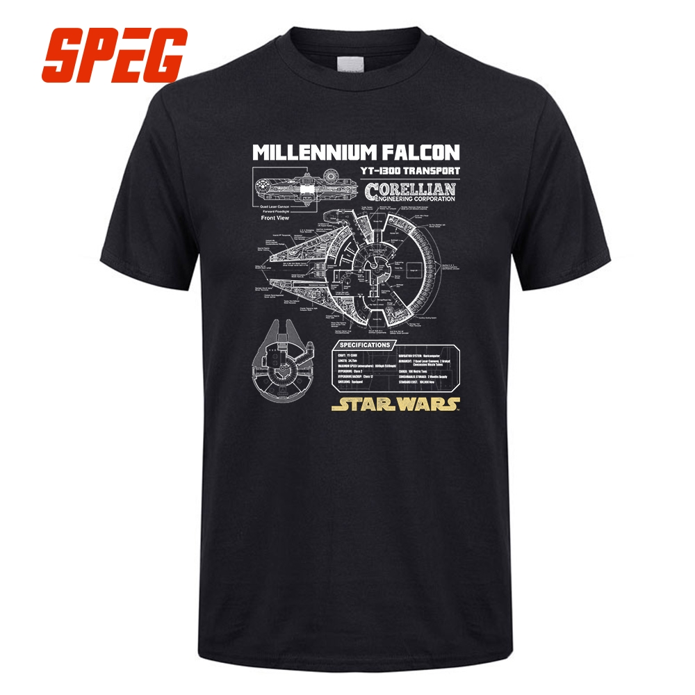 Star Wars Millennium Falcon Schematics Men Quality Luxxry Cotton Short Sleeve   T  -  Shirt   Round Neck Great Discount Men   T     Shirts