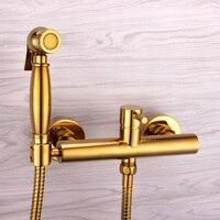 Современные твердая латунь золотым покрытием Ванная комната Настенные биде Пресс носик опрыскиватель горячей и холодной смесителя