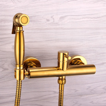 Modern Solid Brass Golden Plated Bathroom Wall Mounted Bidet Press Spout Sprayer Hot and Cold Mixer Tap