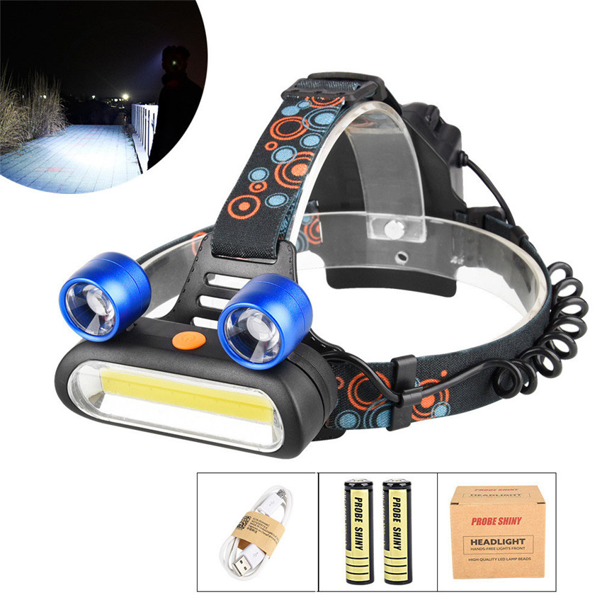 Bicycle Light Flashlight 5000LM 2x XM-L T6 LED +COB Rechargeable 18650 Headlamp Head Lamp lighting Light Torch Set 2 Colors M25 950lm 3 mode white bicycle headlamp w cree xm l t6 black silver 2 x 18650