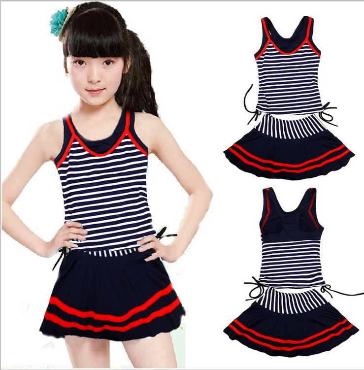 New 2019 Navy Style Swimsuits For Girls Striped Female 2 Pieces Swim Suit Teenagers Kids Bathing Suits Girl Bodysuit Beach Wear
