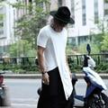 Masculino verão asymmetric hem camisa dos homens t dos homens magro ocasional de manga curta T-shirt boate punk rock t trajes K905