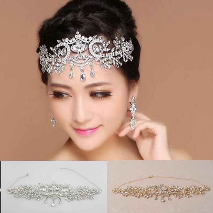 Bridal luxury Teardrop Rhinestone Crystal leaf shape Tiara Crown 1pcs/bag Woman Hairbands Wedding Party Hair Jewelry Headpiece