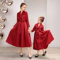 Mother Daughter Wedding Evening Dresses Women Long Windbreaker Cocktail Dress Mommy and Me Clothes Family Look Elegant Clothing