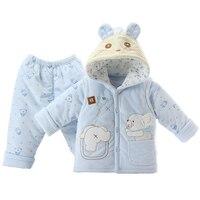 Baby Clothing 3 Pcs Set 2 Infant Kids Cartoon Cotton Padded Clothes Newborn Boys Girls Soft Velvet Vest Coat + Tops + Pants X284