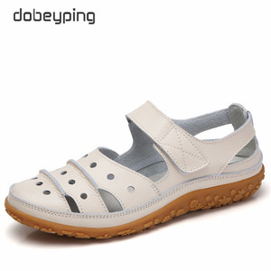 Image 2 - dobeyping Hollow Woman Sandals Breathable Women Beach Shoes Genuine Leather Female Flats Cut Outs Womens Loafers New Arrival