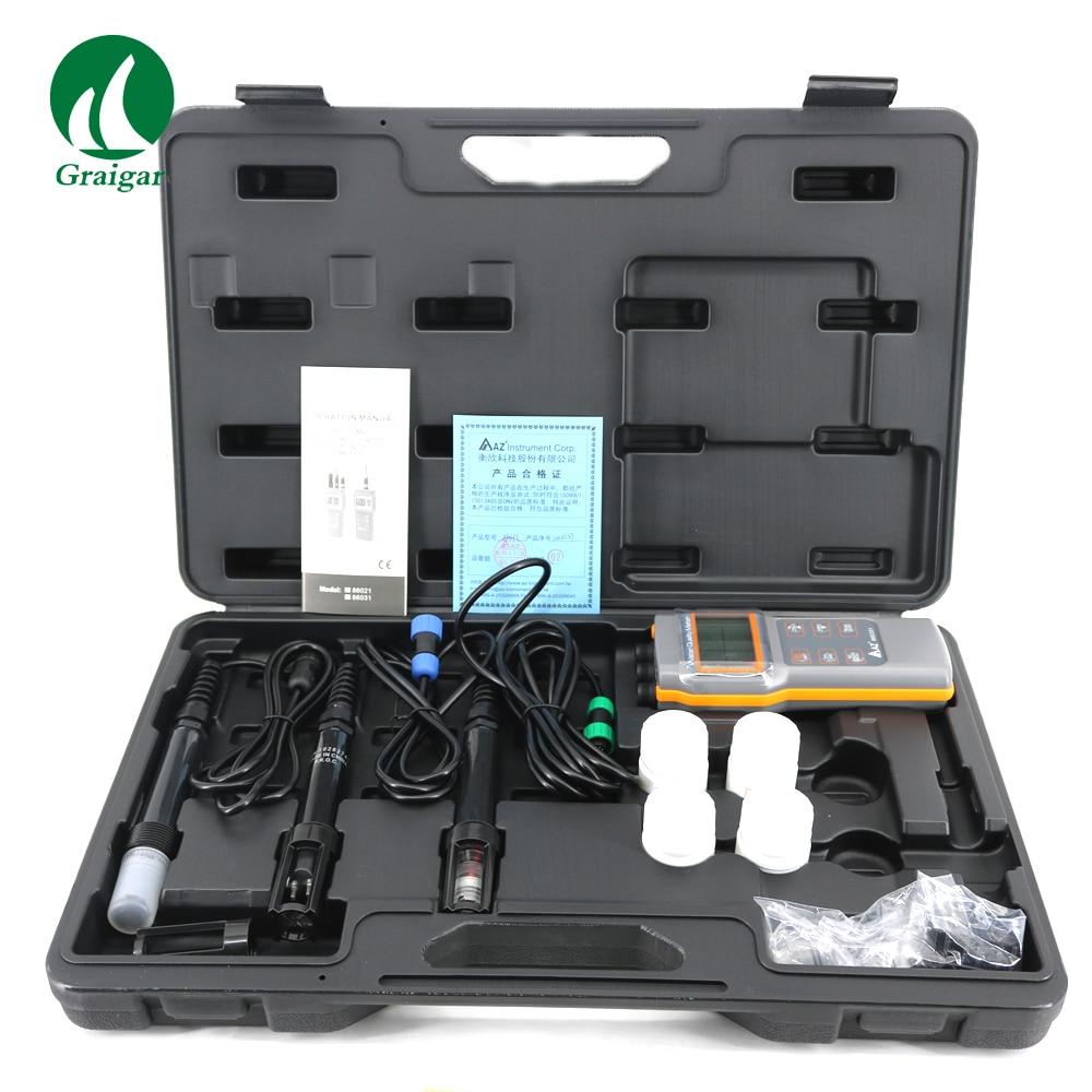 Portable AZ86031 Qualité De L'eau Compteur D'oxygène Dissous Testeur PH Mètre PH Conductivité Salinité Mètre de La Température avec PH Mètre